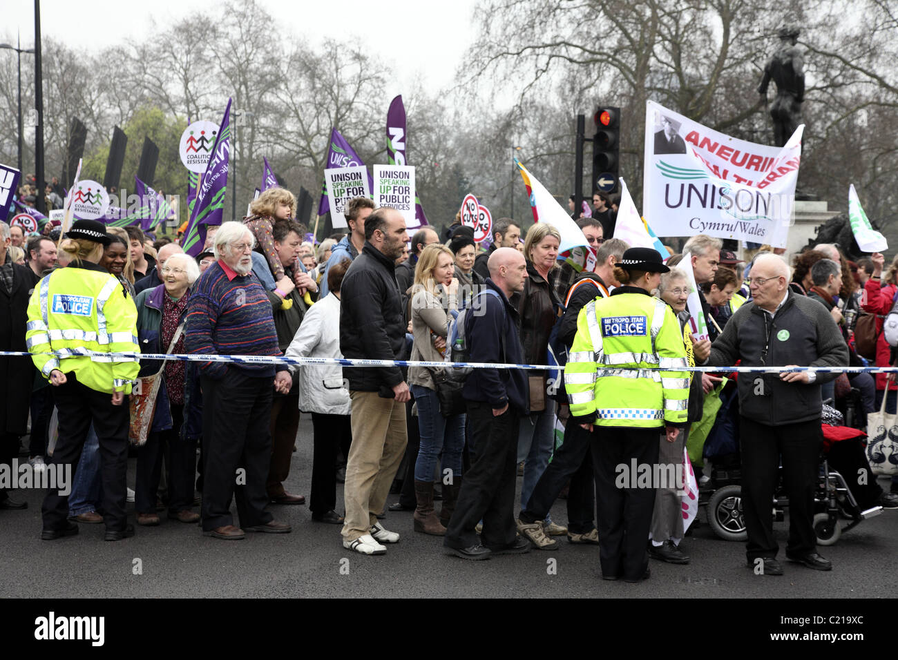 Demonstration against government cuts in public spending. - Stock Image