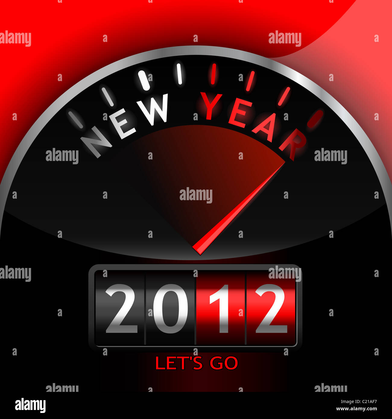2012 counter on the dashboard - Stock Image