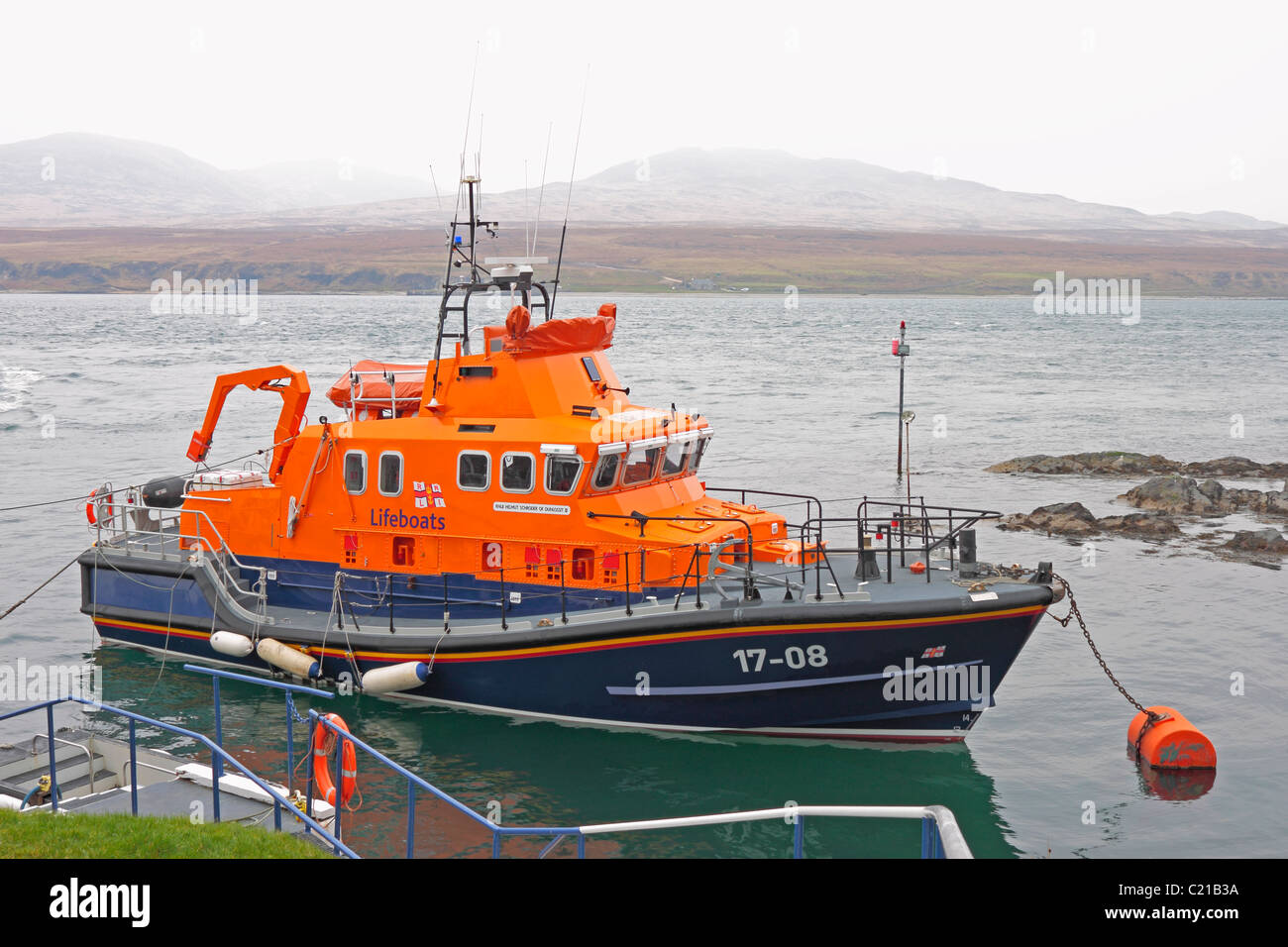 RNLI Lifeboat Helmut Schroder of Dunlossit II moored at Port Askaig - Stock Image