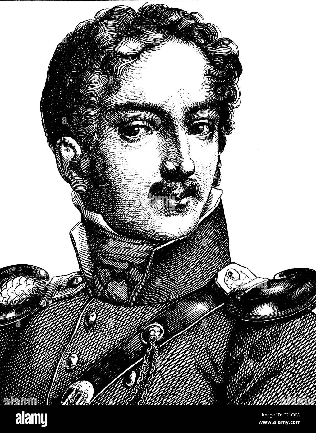 Digital improved image of Karl Theodor Koerner, 1791 - 1813, German poet and playwright, portrait, historical illustration, - Stock Image