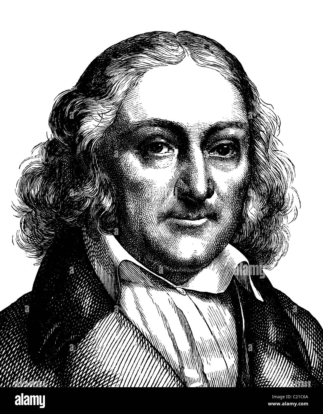 Digital improved image of Georg Andreas Reimer, 1776 - 1842, German publisher, portrait, historical illustration,Stock Photo