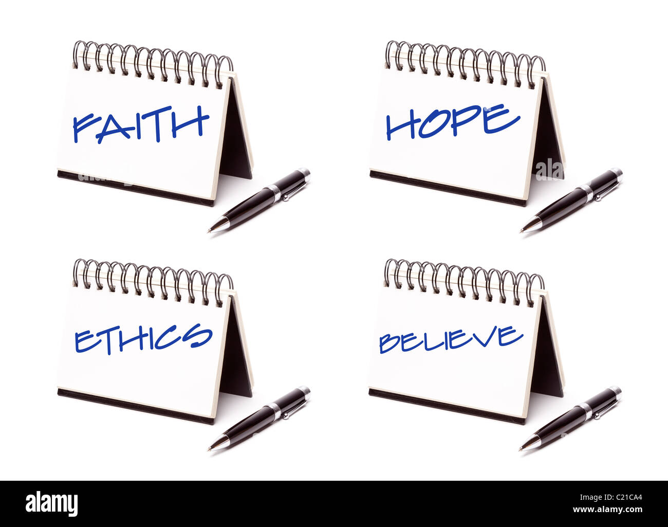 Spiral Note Pad and Pen Series Isolated on White - Faith, Hope, Ethics and Believe - XXXL. - Stock Image