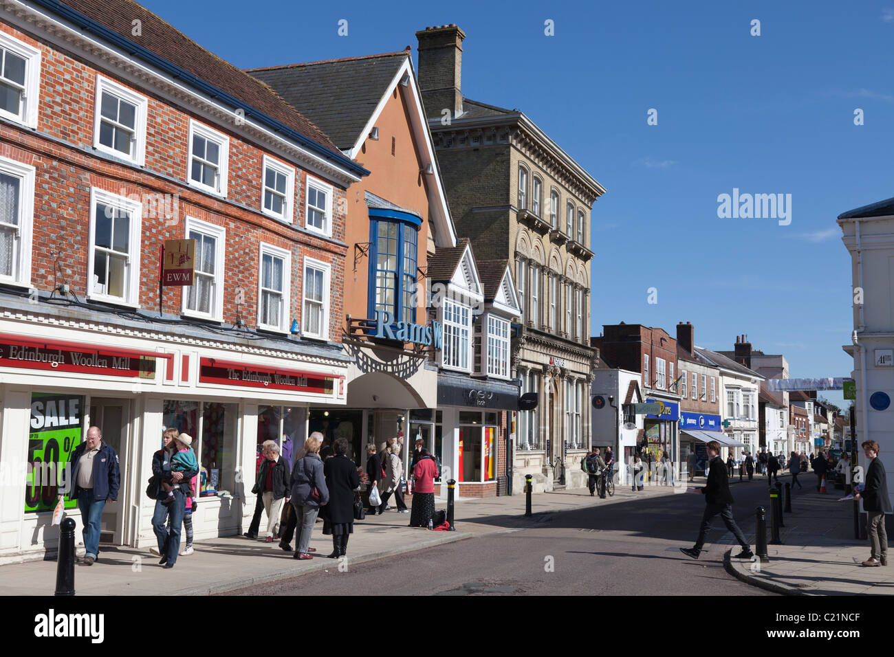 Petersfield town centre high street - Stock Image