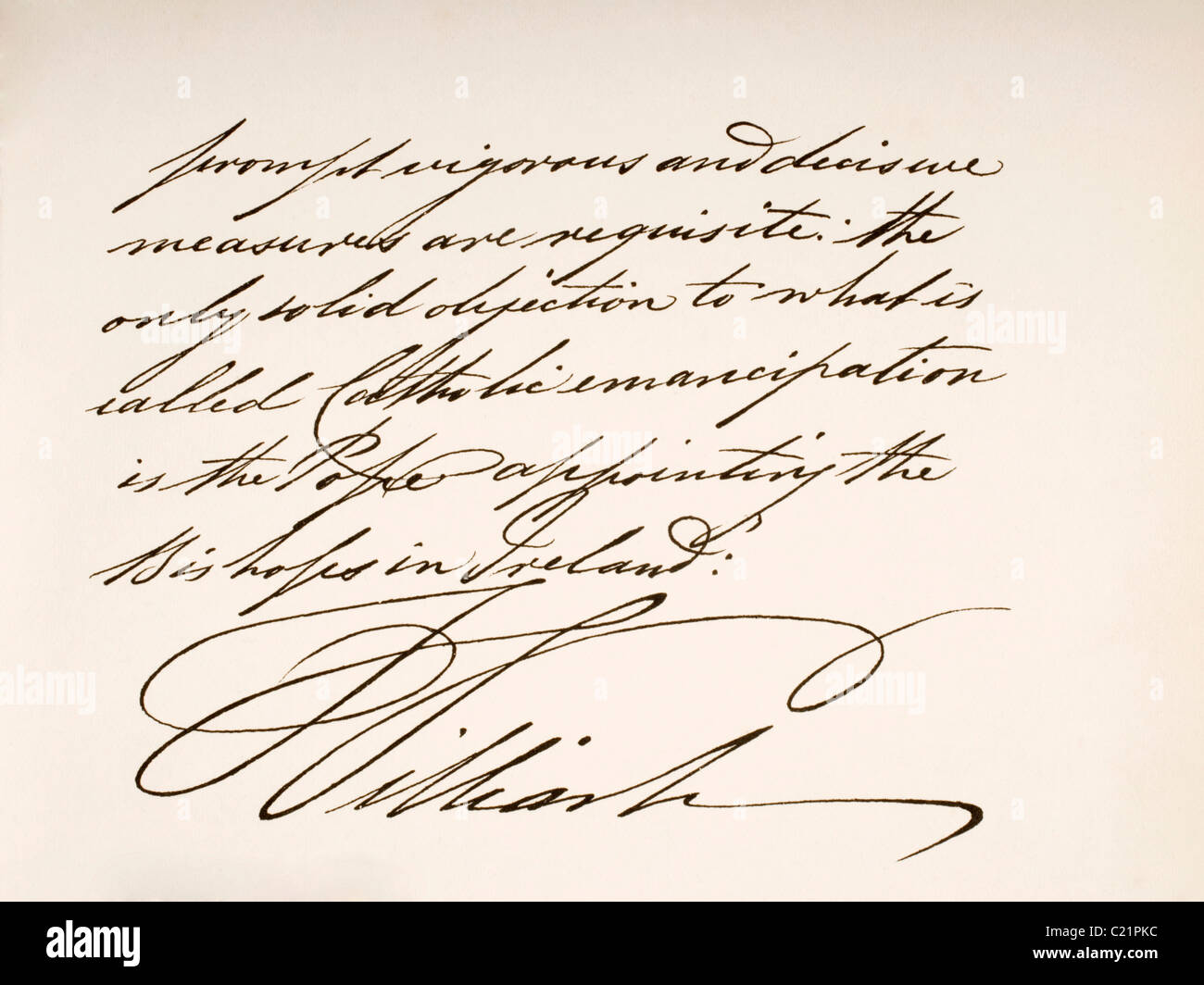 William IV, 1765 to 1837. King of Great Britain and Ireland and King of Hanover. Hand writing sample. - Stock Image