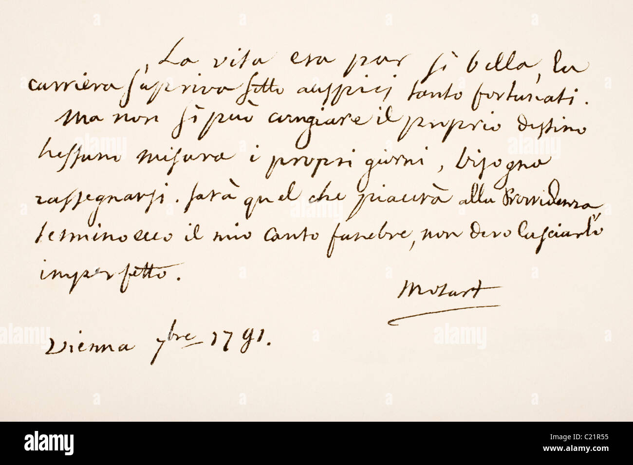 Wolfgang Amadeus Mozart, 1756 - 1791. Austrian musician and composer. Hand writing sample. - Stock Image