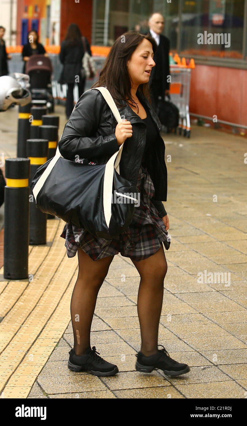 Natalie Cassidy makes her way to dance rehearsals wearing laddered tights London, England - 06.10.09 - Stock Image