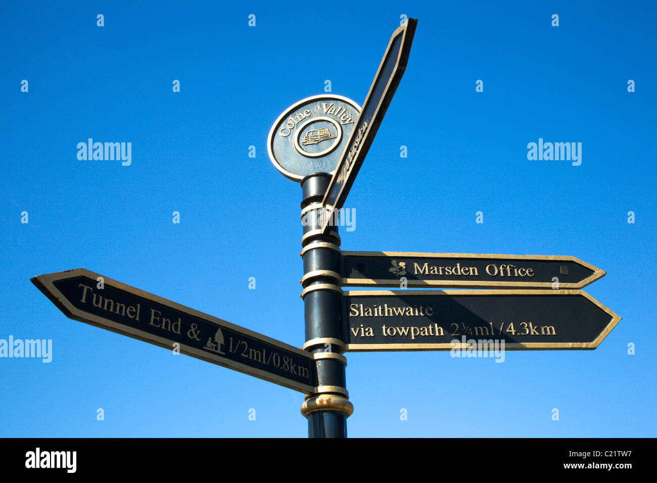Colne Valley Sign Marsden West Yorkshire England - Stock Image
