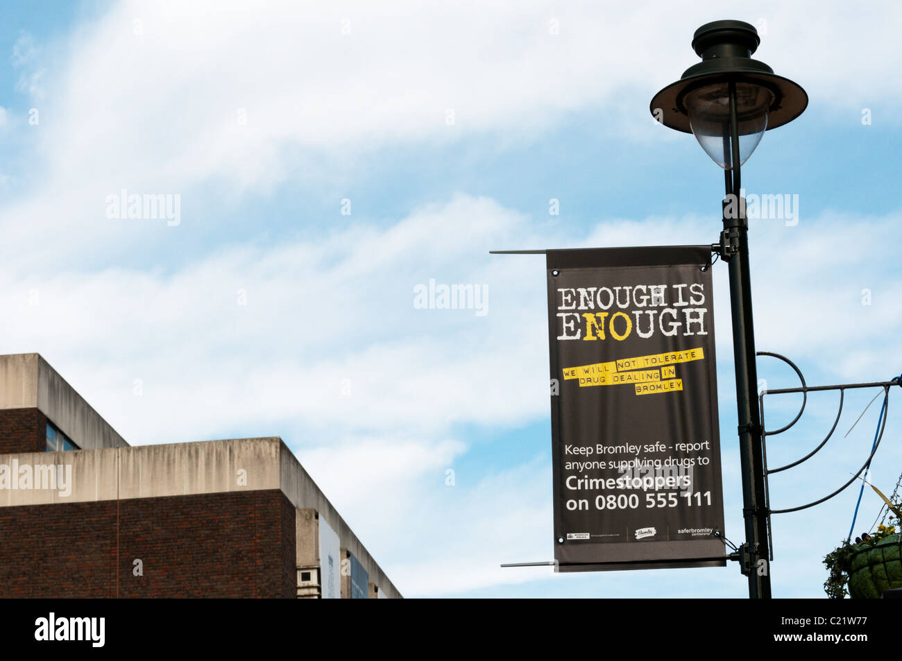 A sign displaying an anti drugs message in the town centre of Bromley, South London - Stock Image