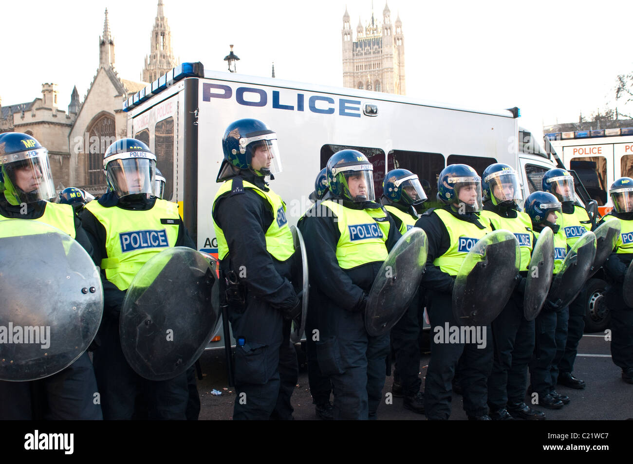 Line of Riot Police, Parliament Square, Student protest against University fees, London, 09/12/2010 - Stock Image