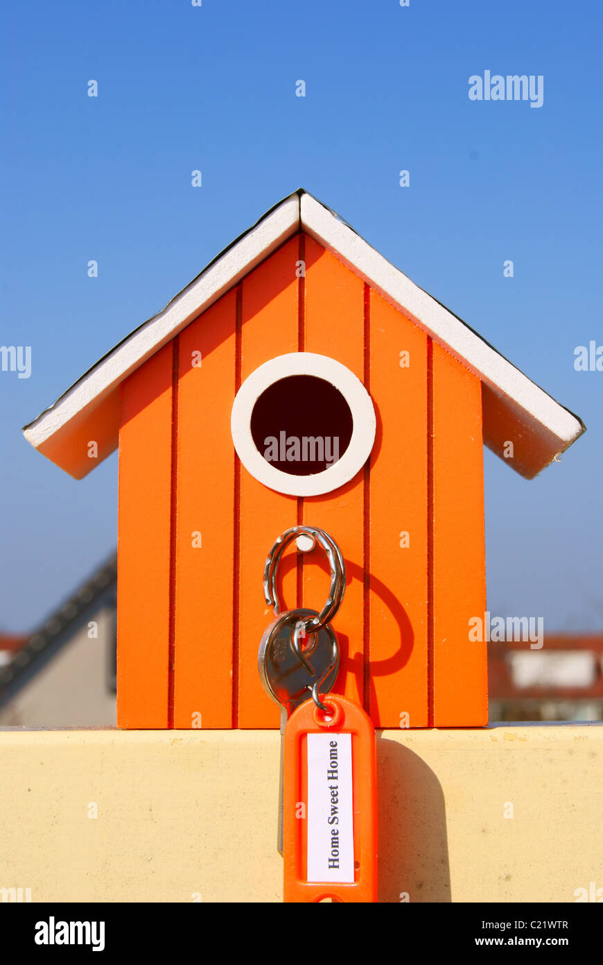 Home Sweet Home with label and key. - Stock Image