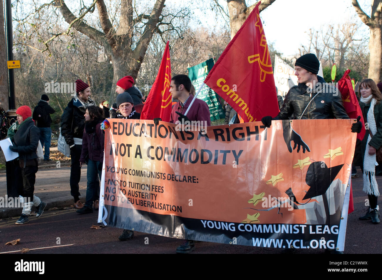 Young Communist League at Student protest against University fees, London, 09/12/2010 - Stock Image