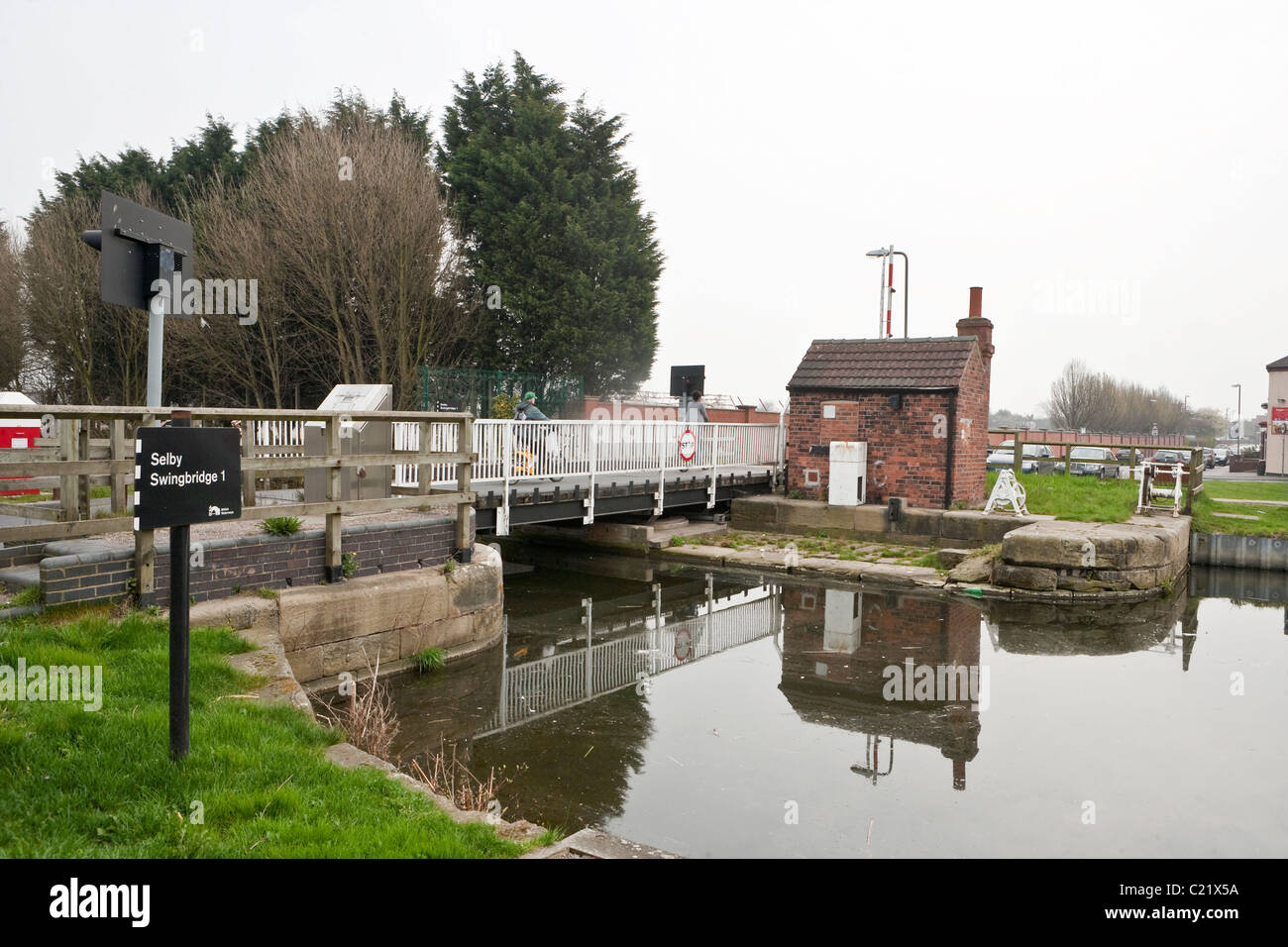 Selby Swing Bridge near Selby Lock at junction with the River Ouse, Selby, North Yorkshire. - Stock Image