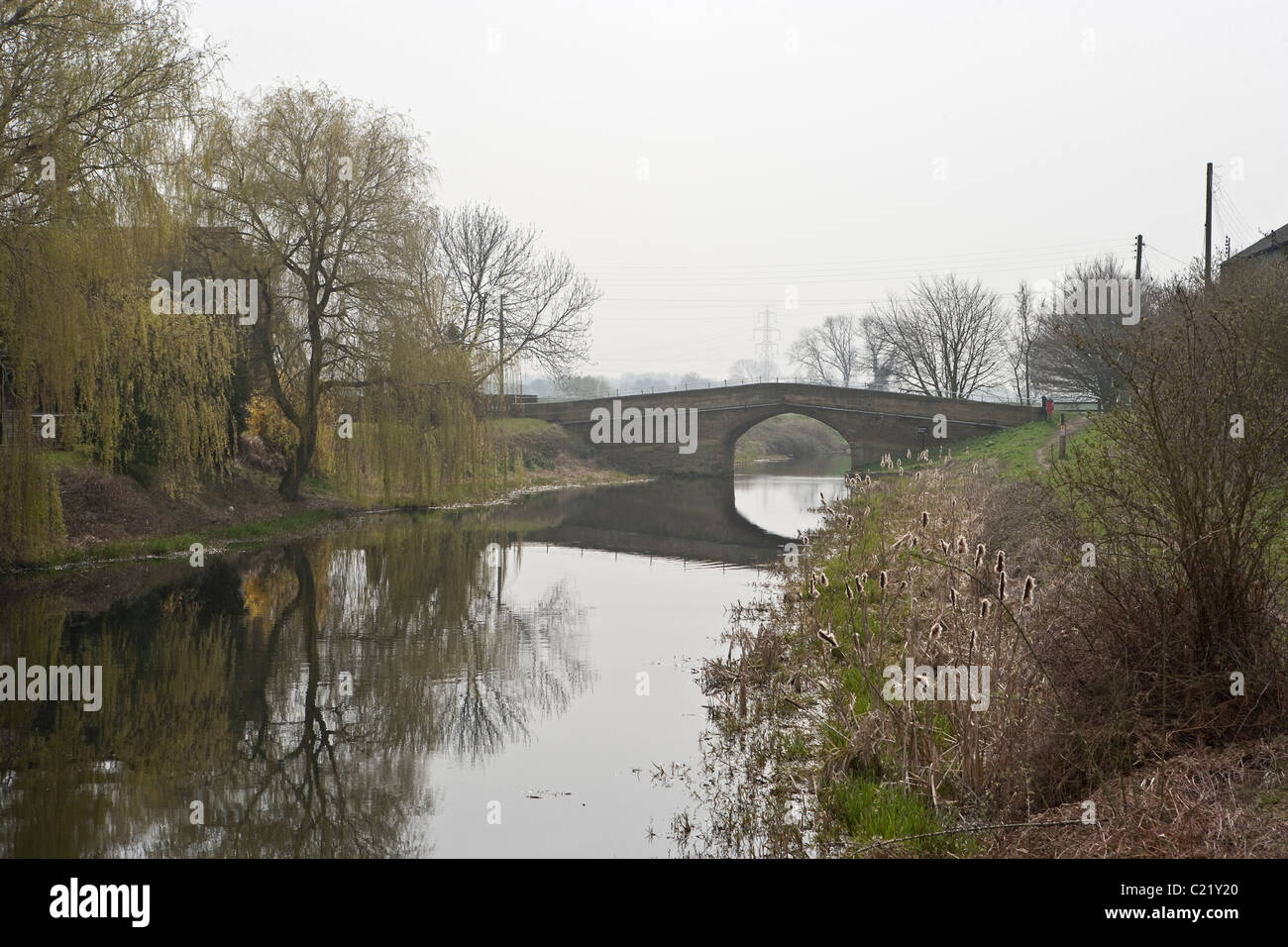 Tankard's Bridge over the Selby Canal at West Haddlesey, Yorkshire, - Stock Image