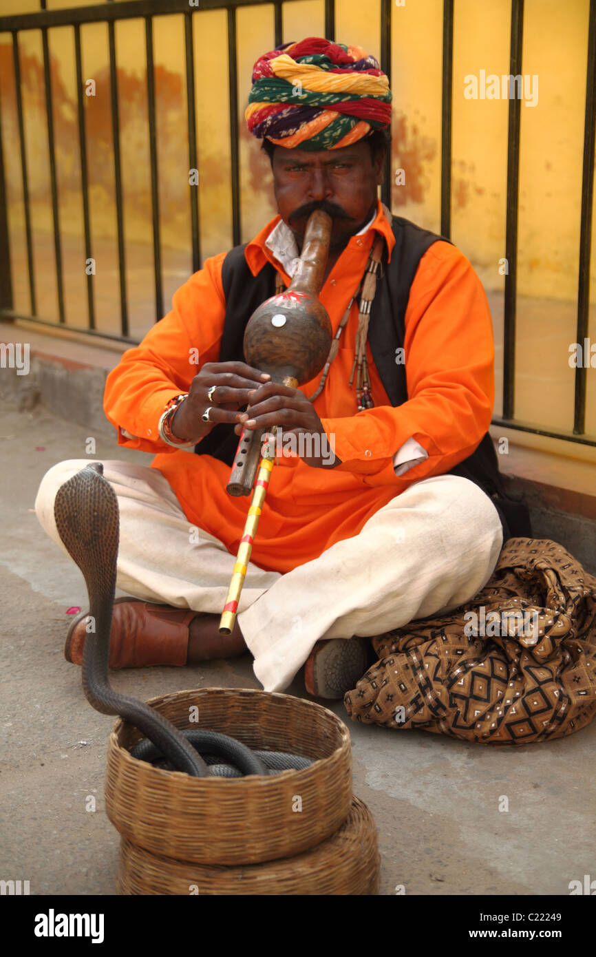 Snake charmer playing instrument for cobra in a basket Stock
