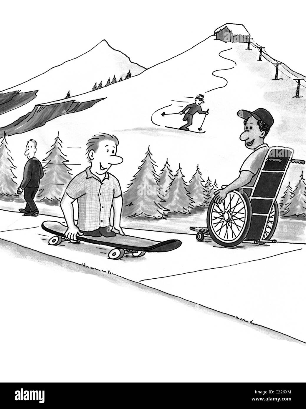 Four people at a ski resort in various states of abilities and disabilities enjoying activities. Some people some - Stock Image