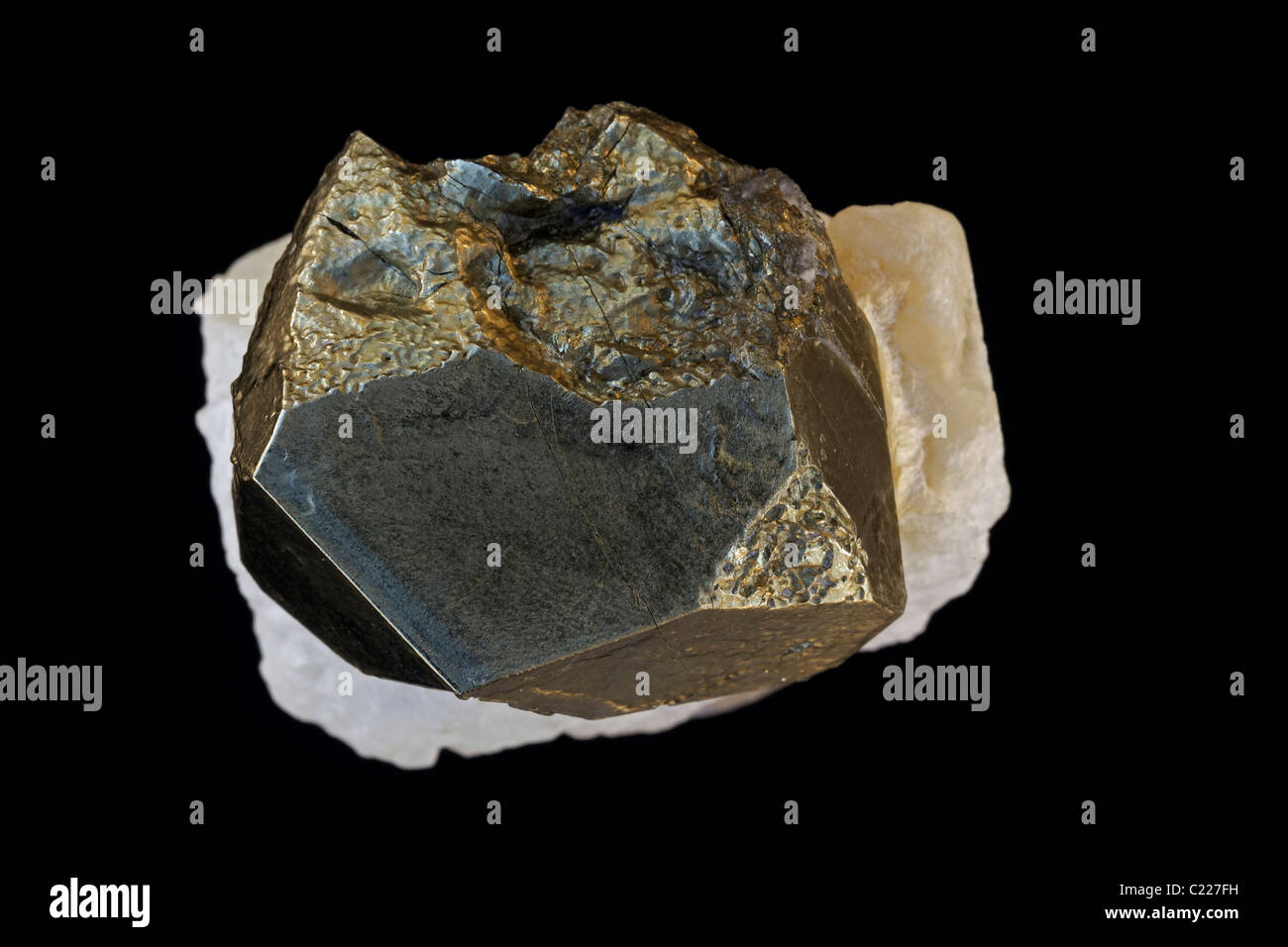 Pyrite on Talc - Oberdorf Steiermark - Austria - Pyrite (FeS2) (Iron sulfide) is popularly known as 'fool's - Stock Image