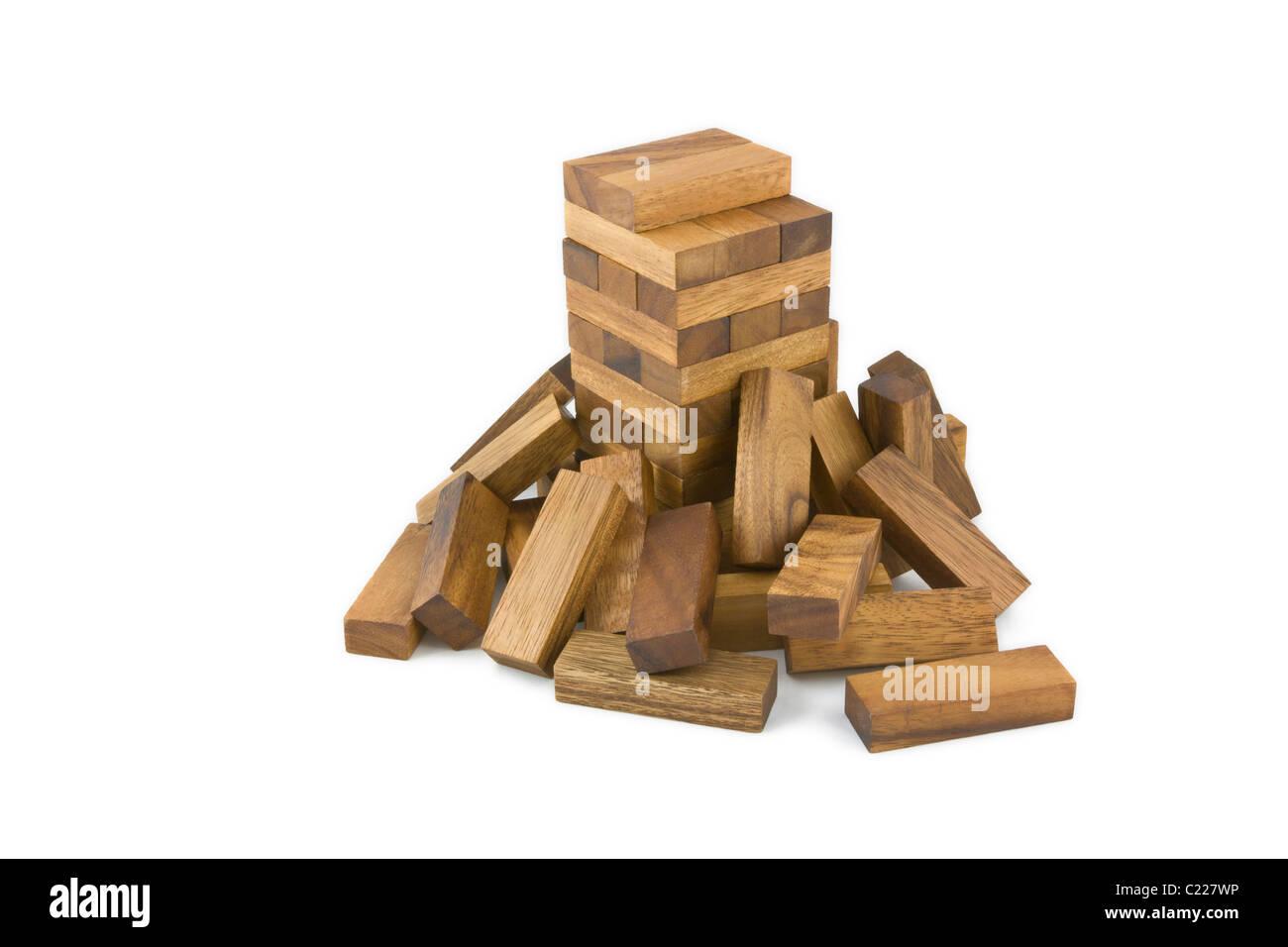 Jenga wooden block game - Stock Image
