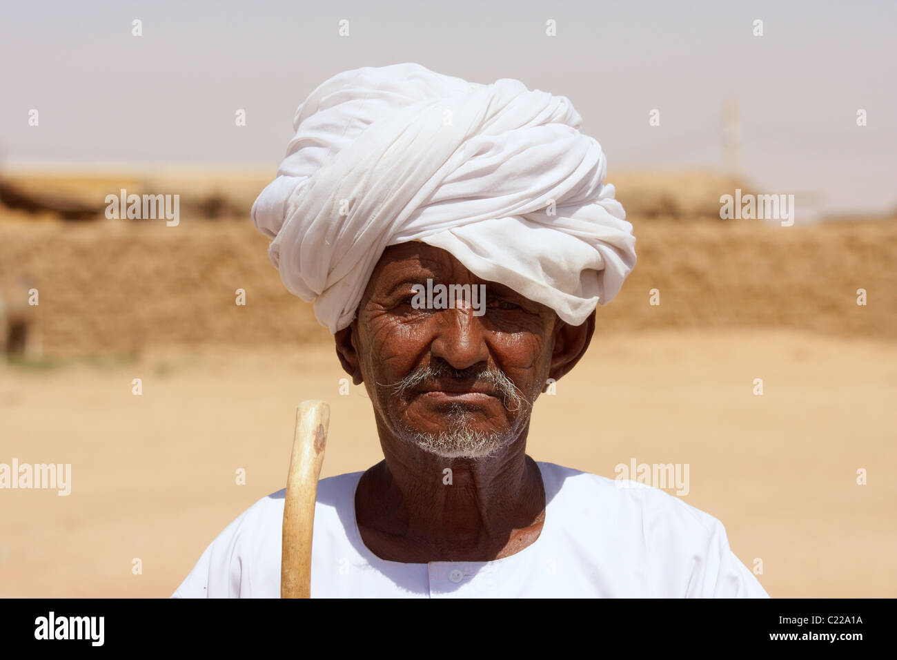 Portrait of an old Sudanese man wearing turban Stock Photo