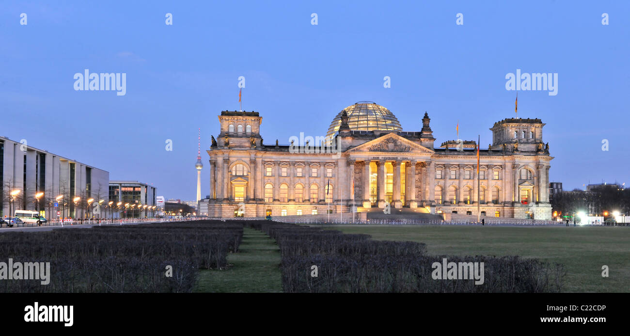 Reichstag Berlin, German parliament building with Paul-Loebe House on the left side - Stock Image
