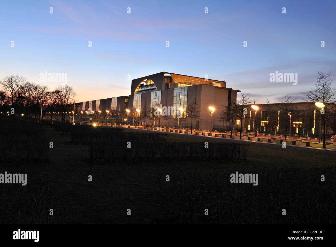 Kanzleramt, German Chancellery, at night, Berlin, Germany, Europe - Stock Image