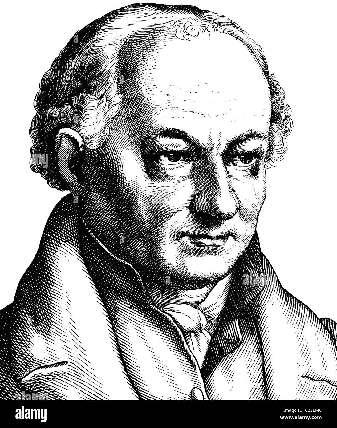 Digital improved image of Christoph Friedrich Perthes, 1772-1843, german book publisher - Stock Image