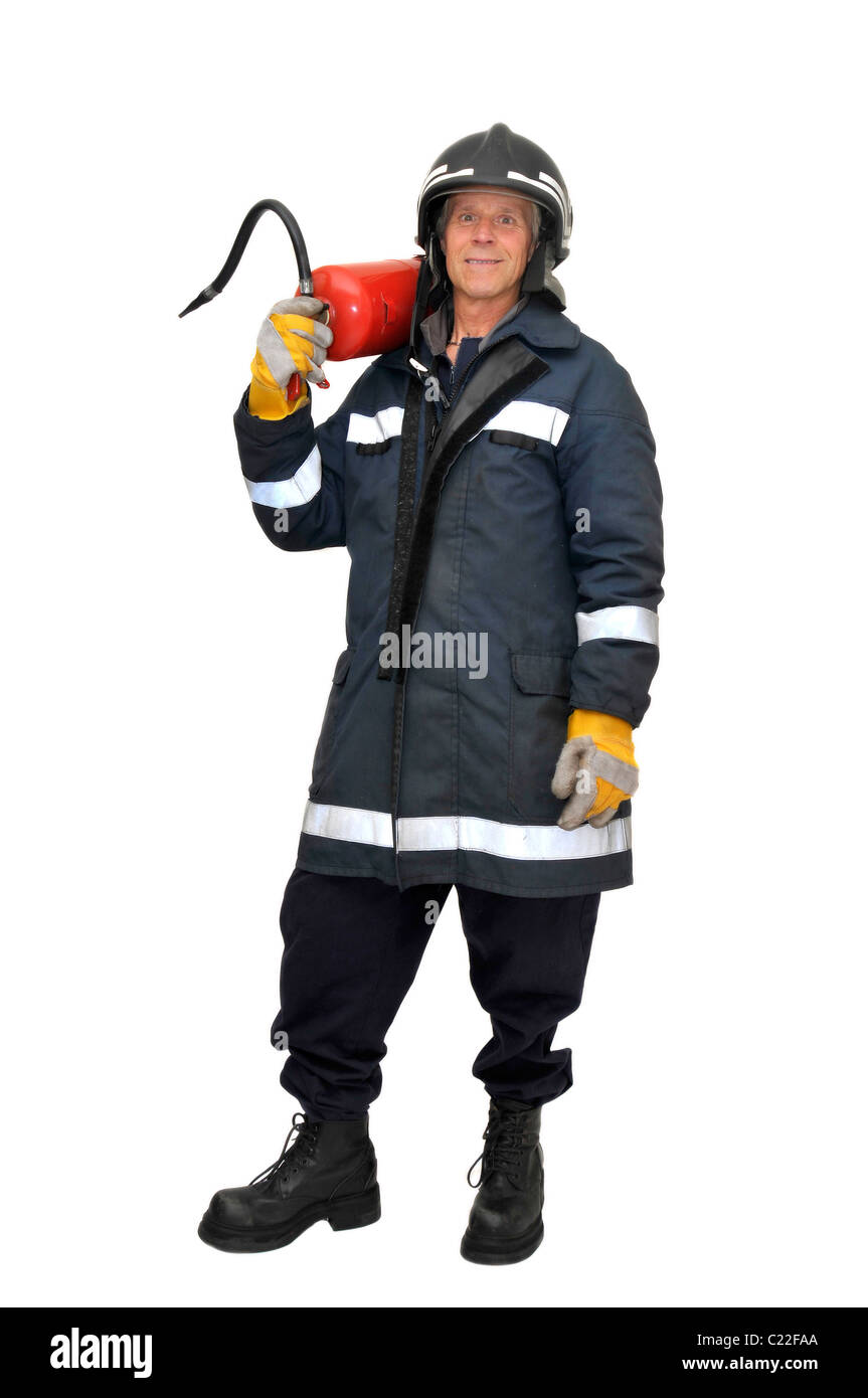 Fireman in uniform isolated in white - Stock Image