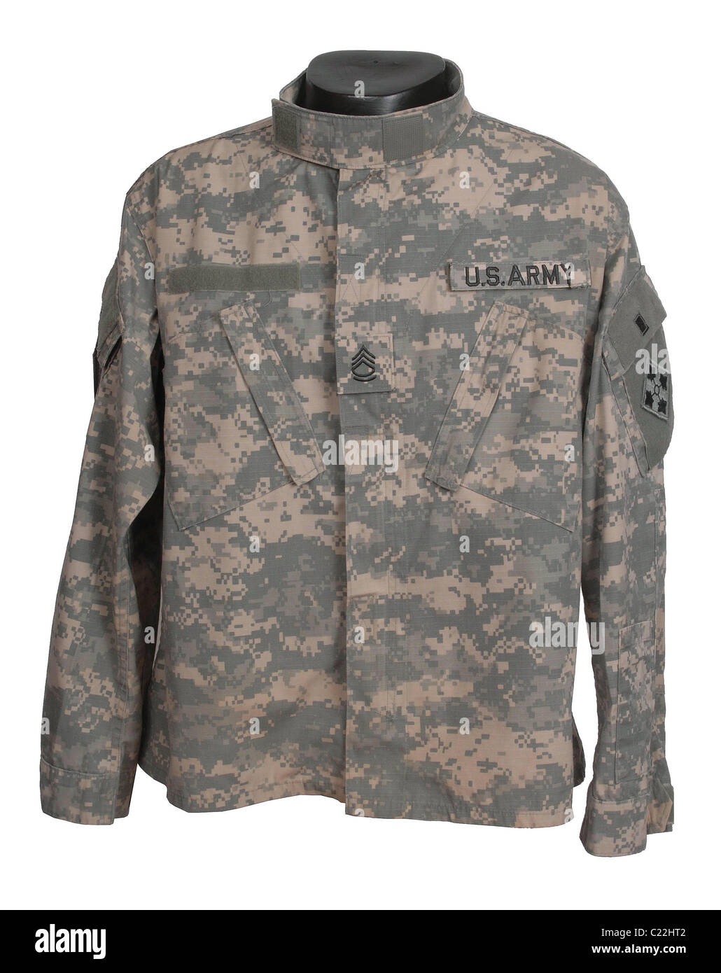 Universal Camouflage Pattern (UCP), also referred to as ACU Army Combat Uniform camouflage tunic used in Afghanistan - Stock Image
