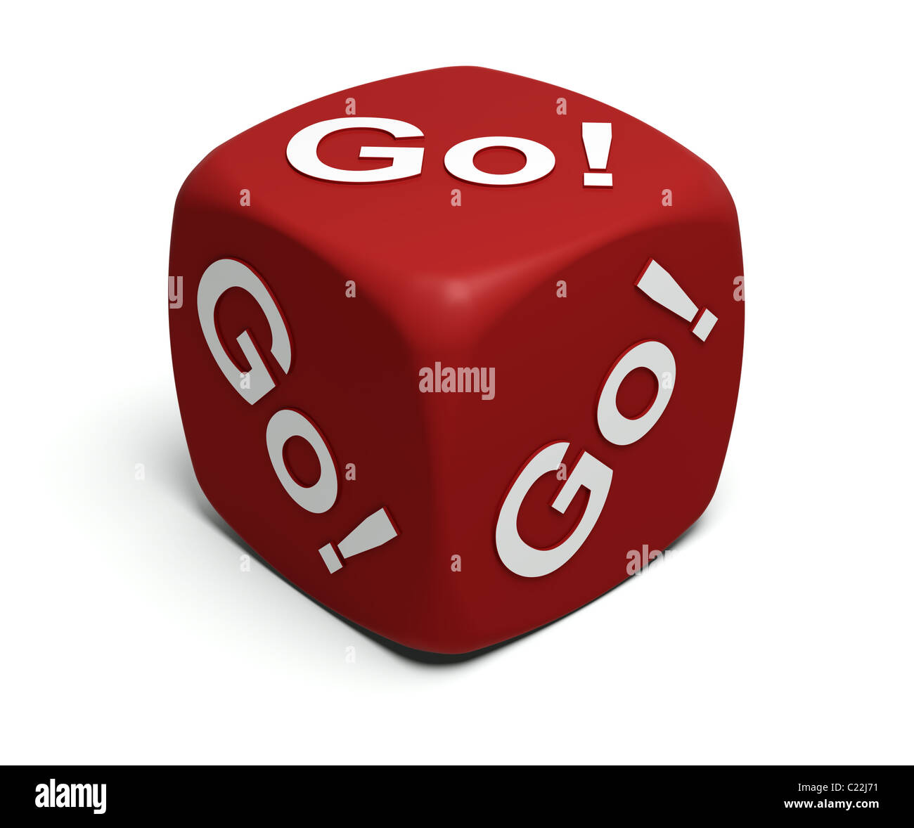 Red Dice with exclamation Go! Go! Go! on faces - Stock Image