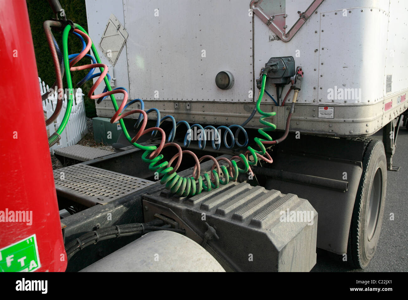 Semi Tractor Air Lines : Air hoses of a tractor trailer truck stock photo