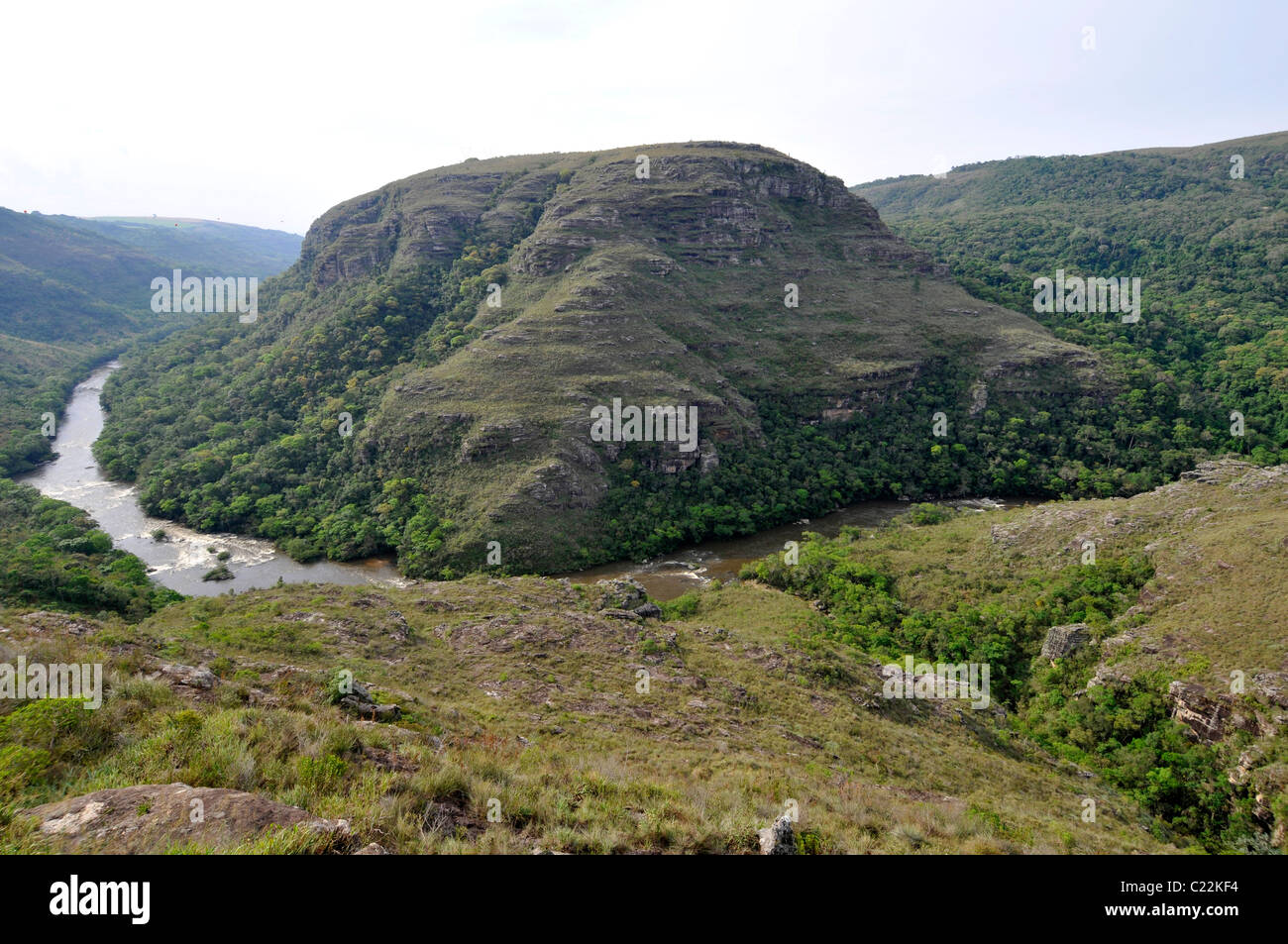River and general view of Guartela canyon, Guartela state Park, Parana, Brazil - Stock Image