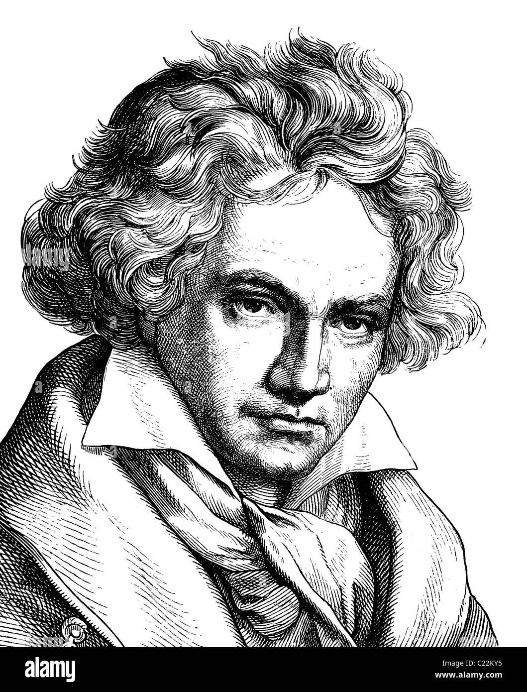 Digital improved image of Ludwig van Beethoven, 1770 - 1827, composer, Portrait, historical illustration, 1880 - Stock Image
