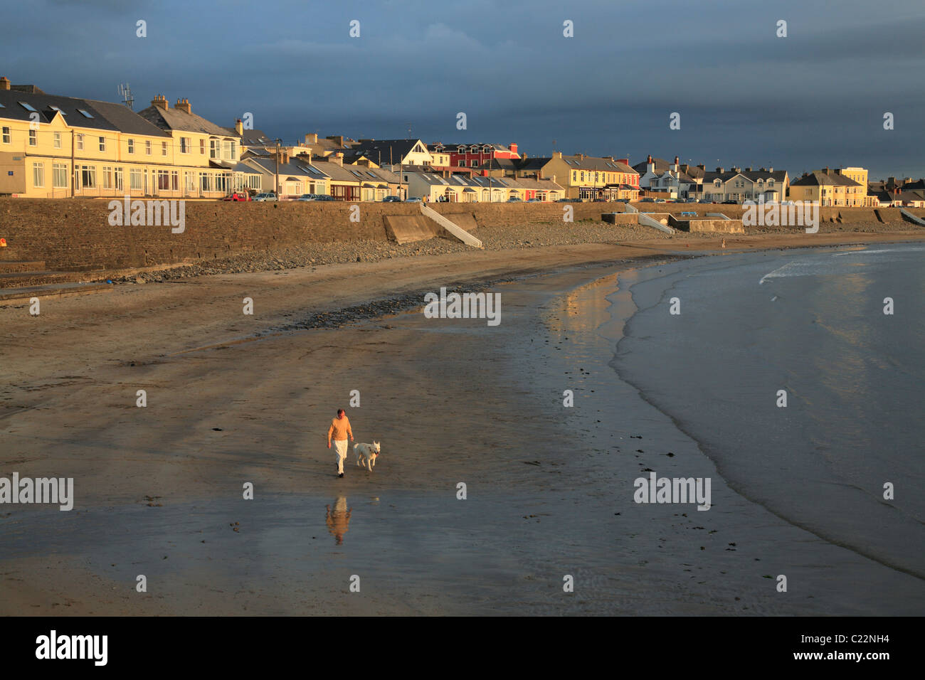 man with dog walks at the beach in Kilkee, West coast of Ireland, County Clare - Stock Image