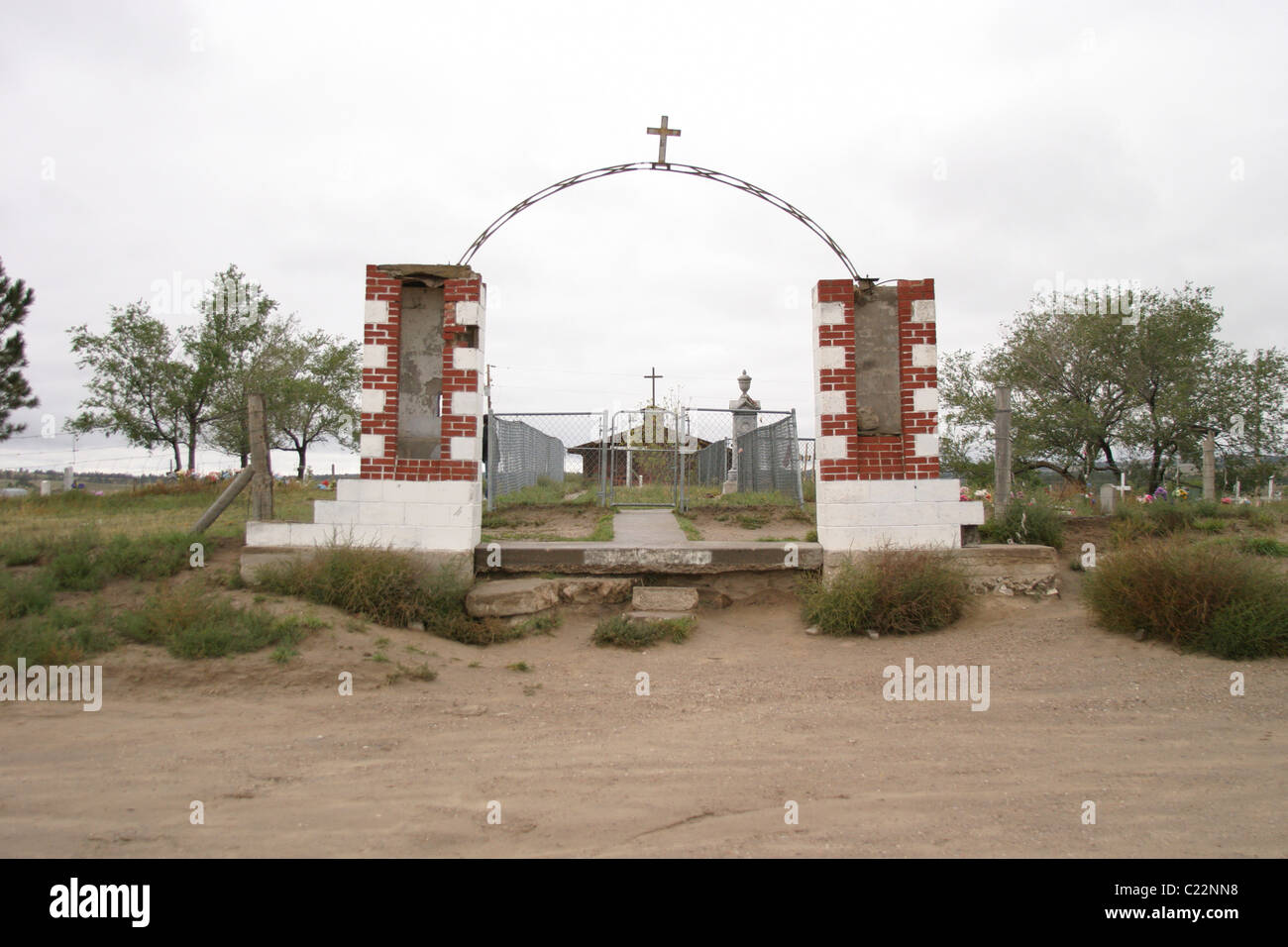 Entrance to the Wounded Knee Memorial. - Stock Image