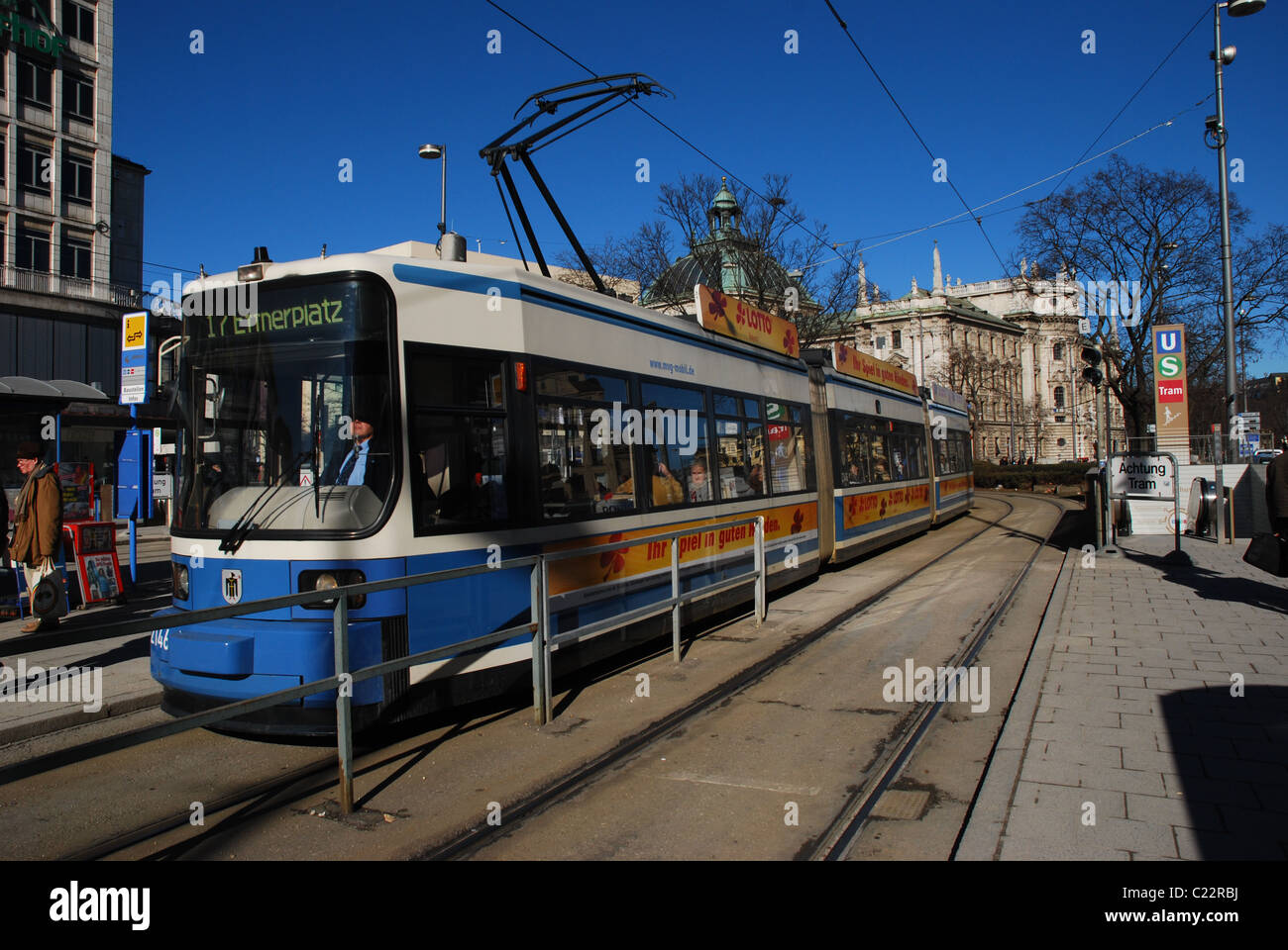 Tram at the station Munich-Karls Platz Stock Photo