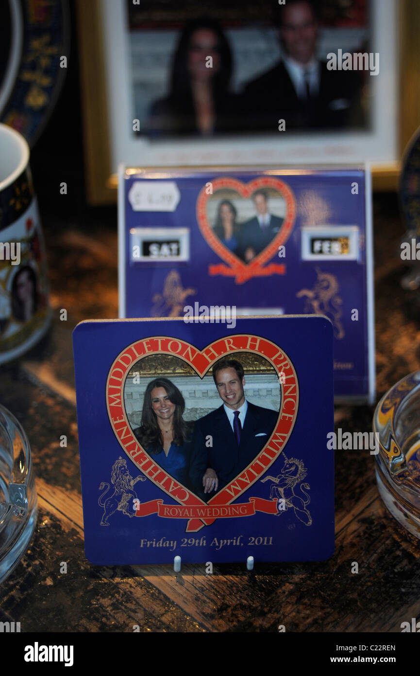 Kate Middleton and Prince William memorabilia for sale in a gift shop, London - Stock Image