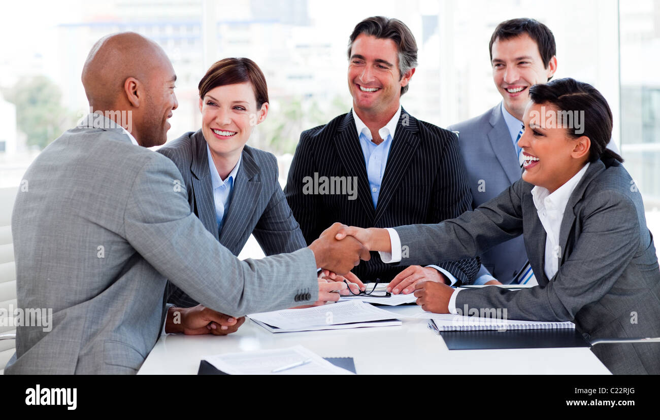 Business people greeting each other stock photo 35712504 alamy business people greeting each other m4hsunfo