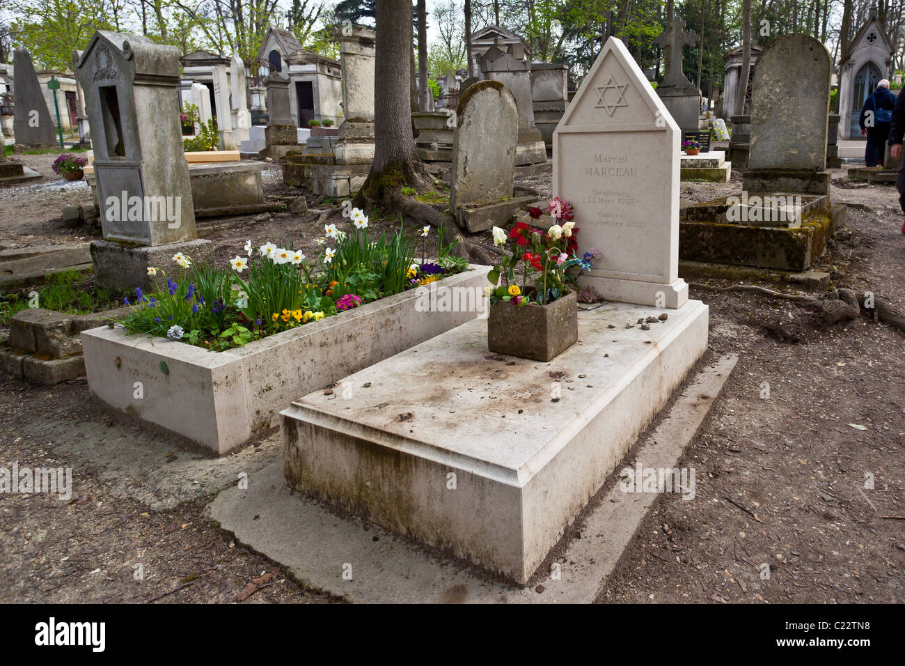 Grave of Marcel Marceau in Pere LaChaise Cemetery; Paris France - Stock Image