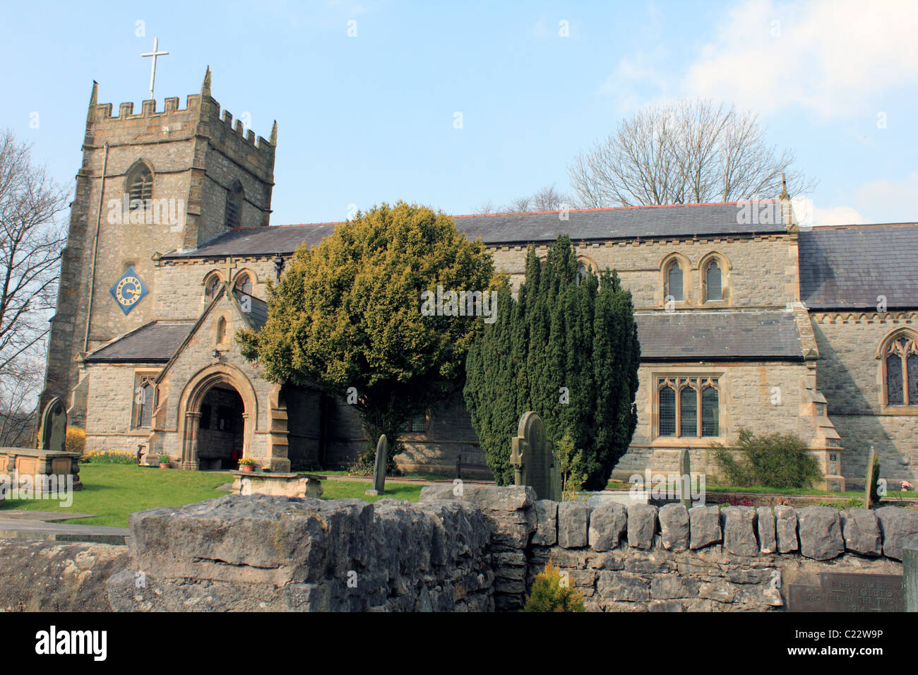 St Marys Church Ingleton Yorkshire Dales United kingdom UK - Stock Image