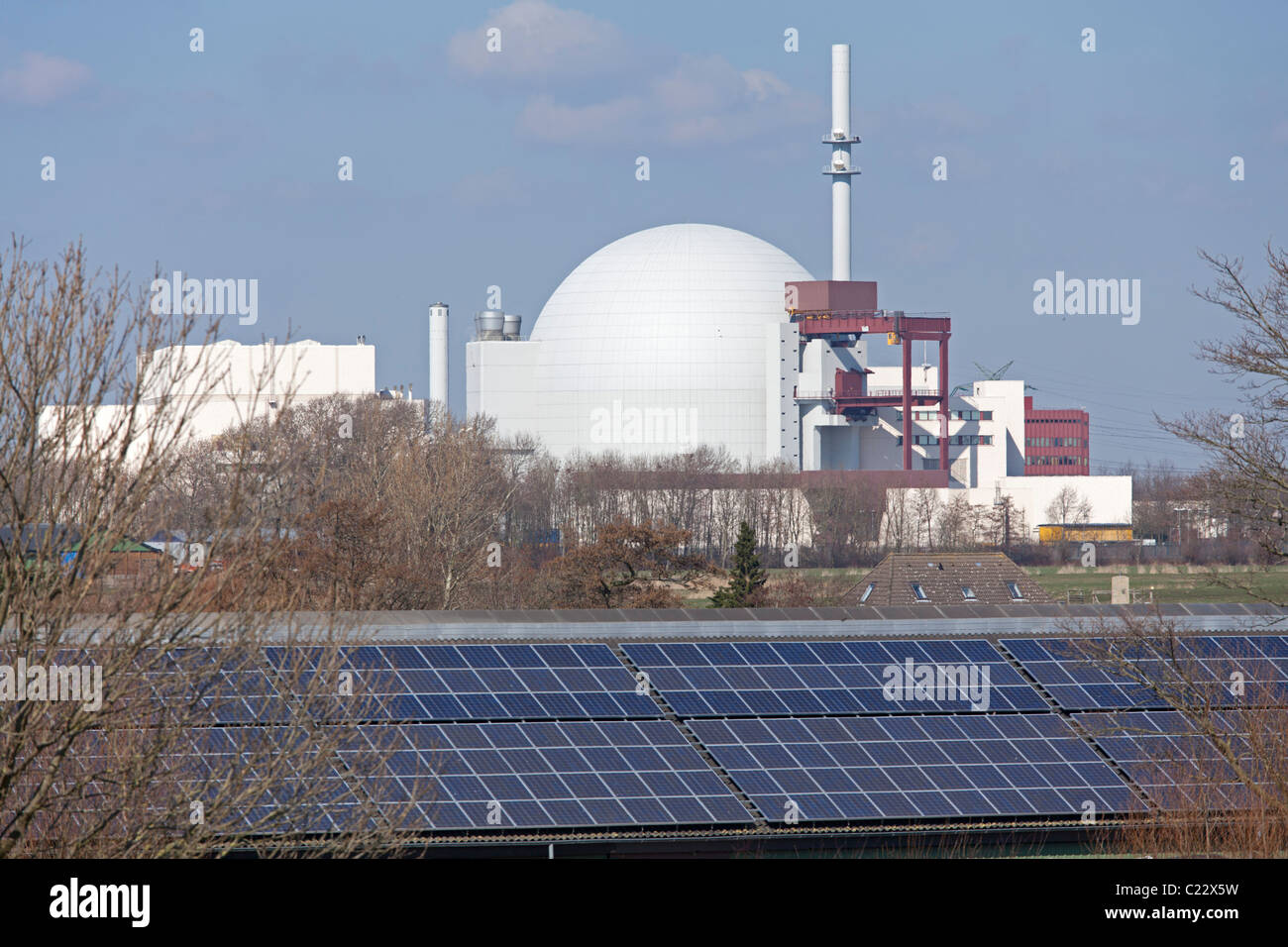 nuclear power station and solar power plant, Brokdorf, Schleswig-Holstein, Germany Stock Photo