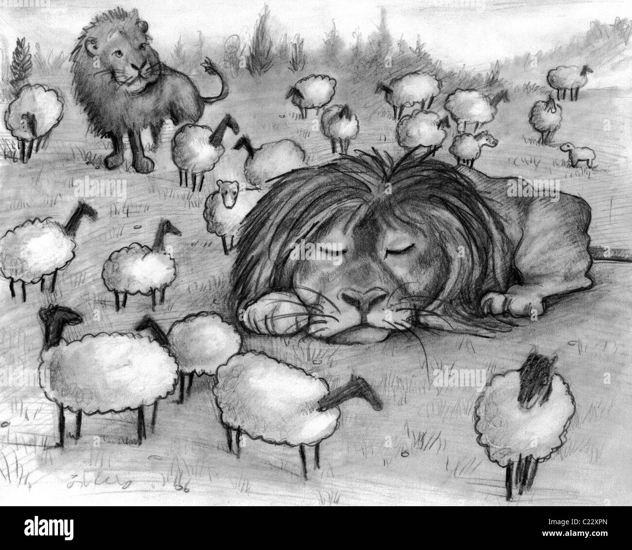 Kindness has strength. Illustration of two lions and many lambs at peace with one another in the same field. Famous - Stock Image