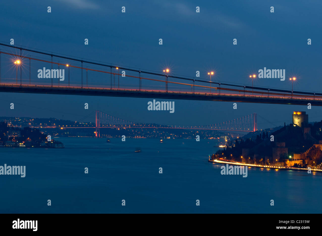 Fatih Mehmet Sultan Bridge and Bosphorus bridge,Rumelihisar castle,istanbul,Turkey Stock Photo