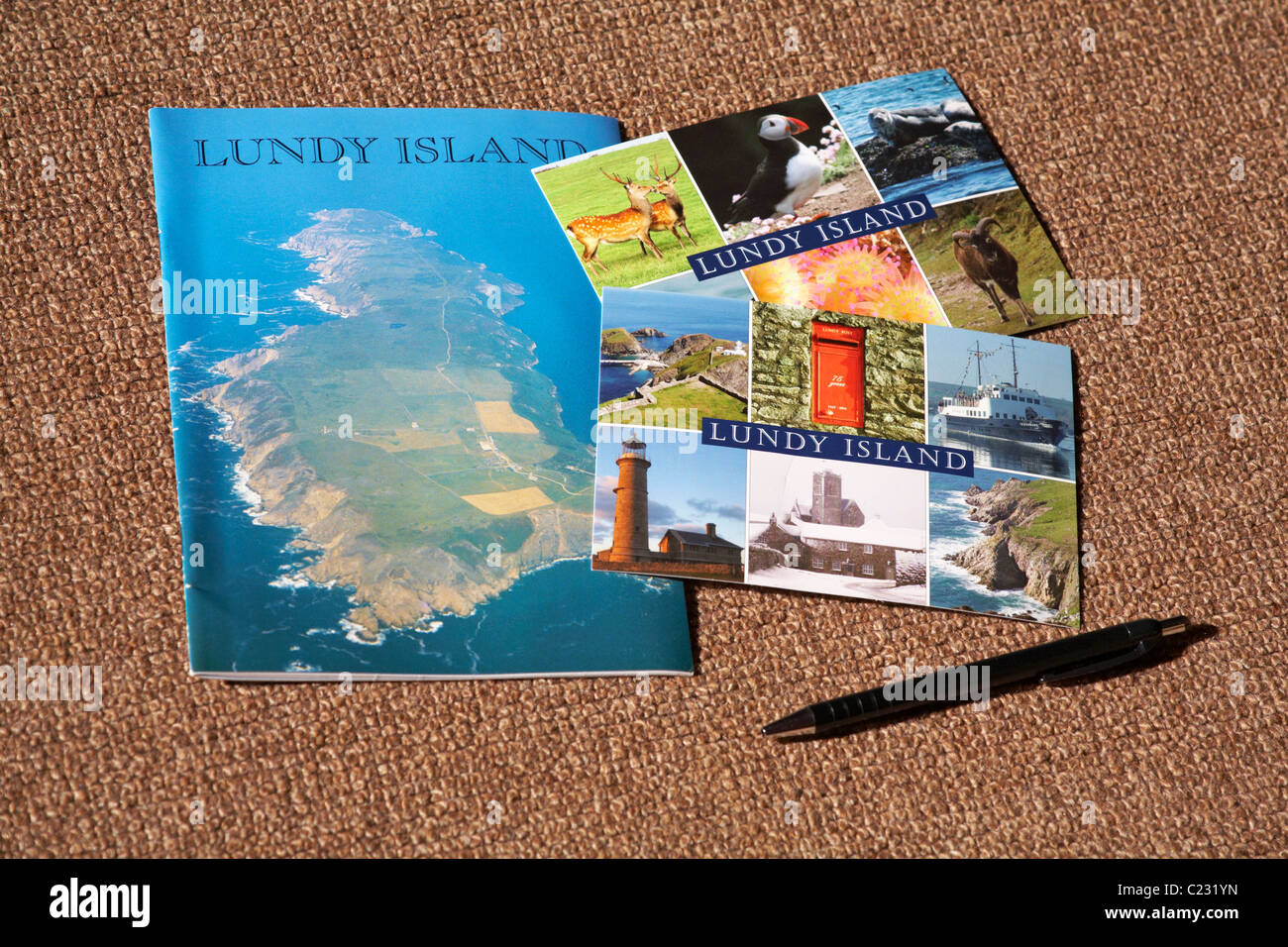 Lundy Island postcards and souvenir book in March - Stock Image