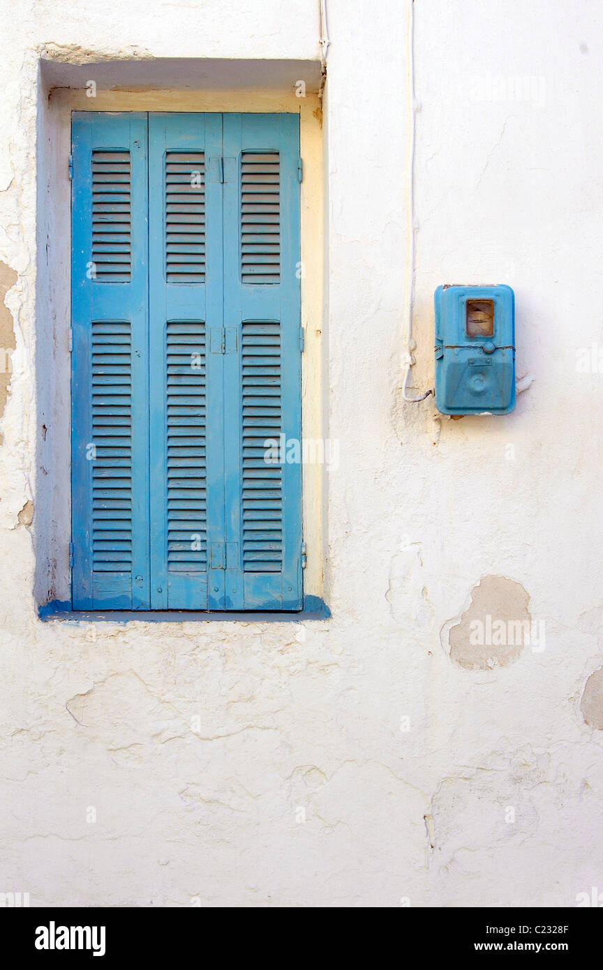 Blue Window Shutters And A Blue Electricity Meter Blue