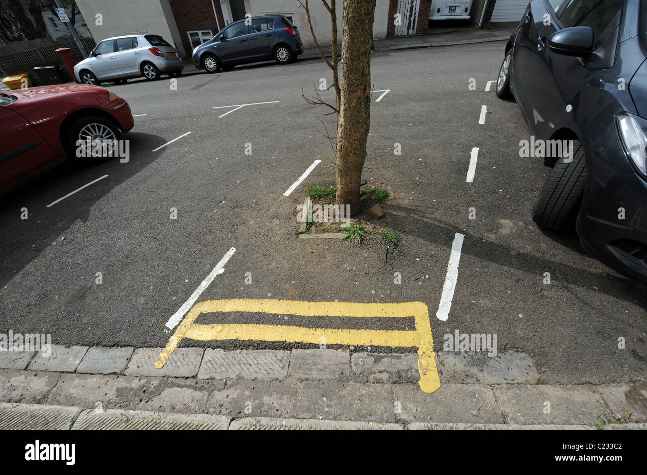 Very short double yellow lines to stop cars parking in a bay with a tree planted in the road at Shaftsbury Place - Stock Image