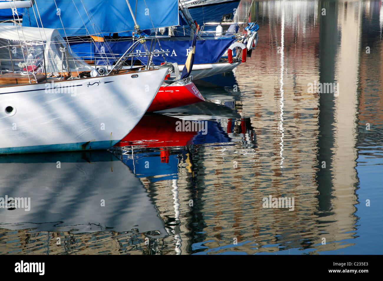 Yachts moored in St Katharine's Dock, Wapping, London, UK Stock Photo