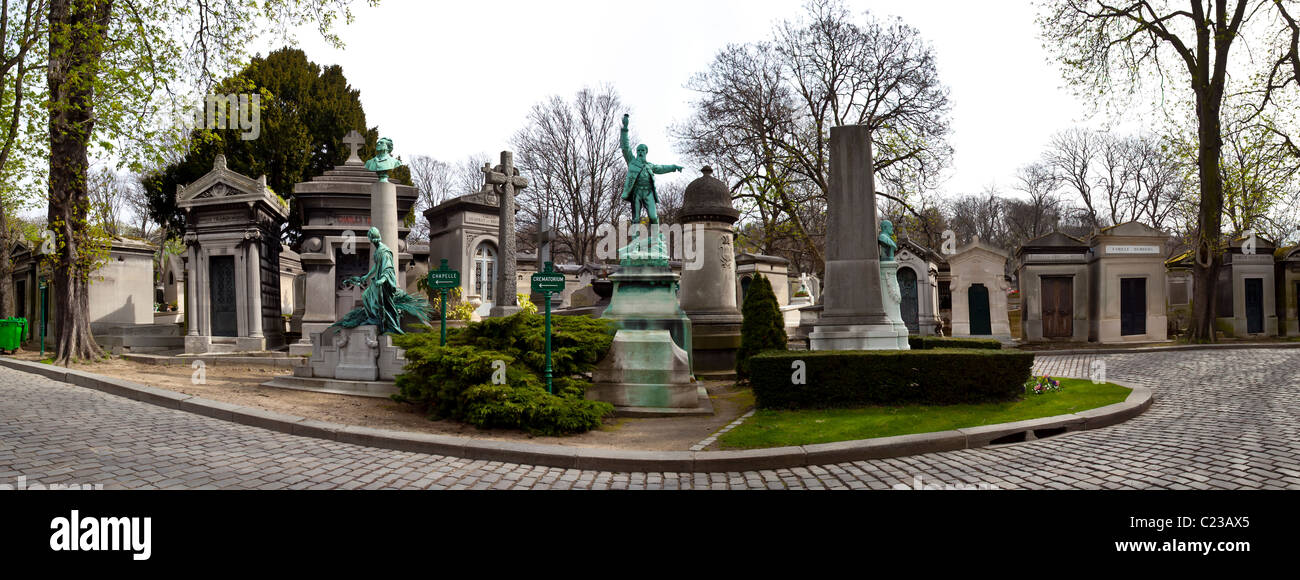 Panoramic view of crypts and statues at Pere LaChaise Cemetery; Paris France - Stock Image