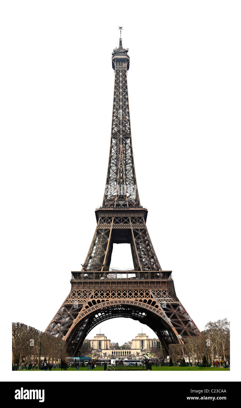 Paris Eiffel Tower Paris France cut out isolated on white background. Studio Lupica - Stock Image