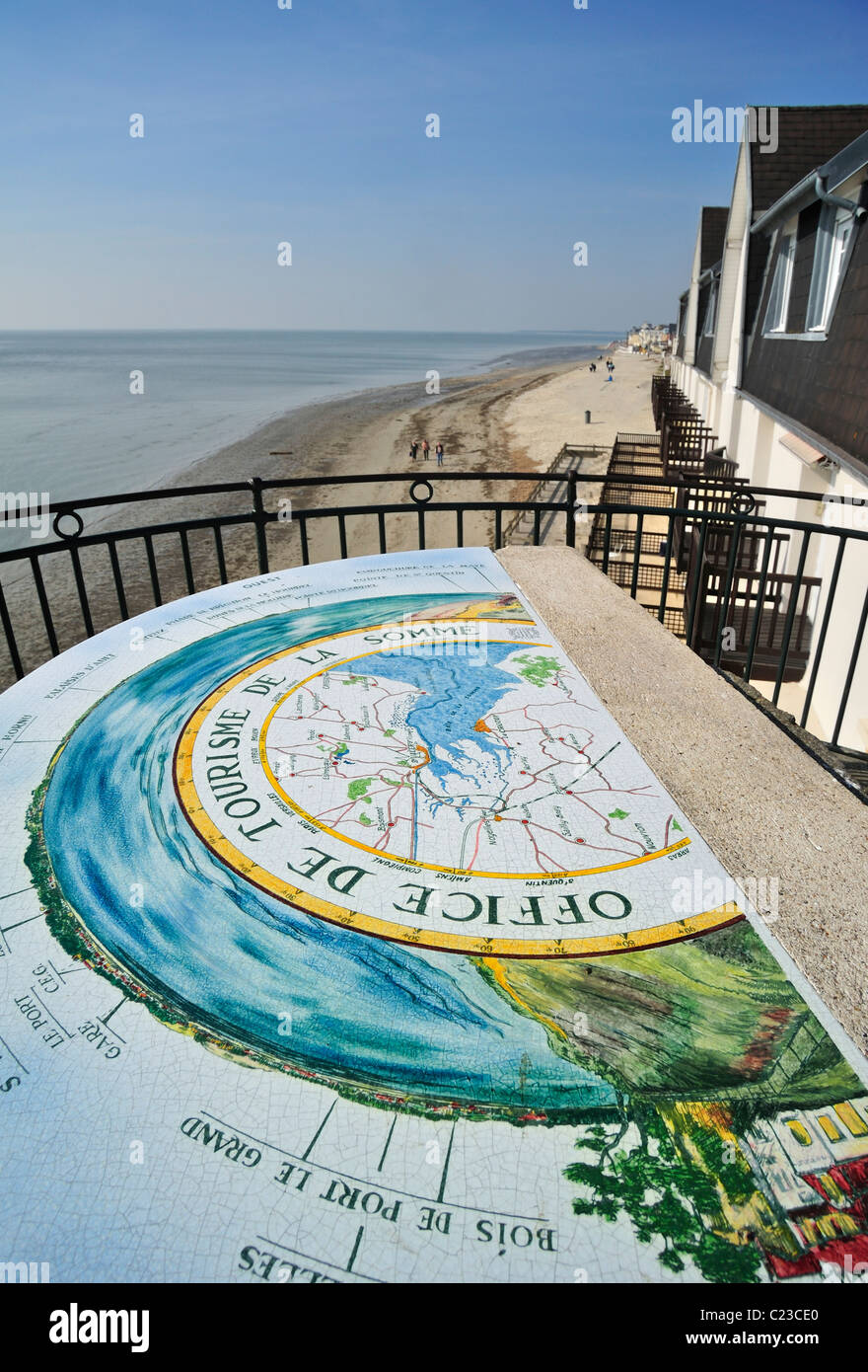Orientation table at Le Crotoy, Bay of the Somme, Picardy, France - Stock Image