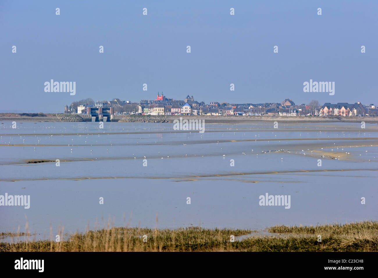Bay of the Somme and view over the village Le Crotoy, Picardy, France Stock Photo