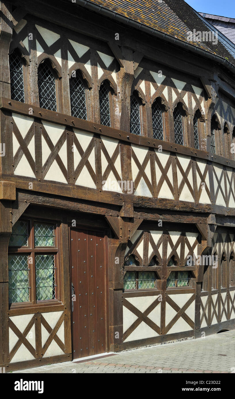 Façade of half-timbered house at Rue, Bay of the Somme, Picardy, France - Stock Image